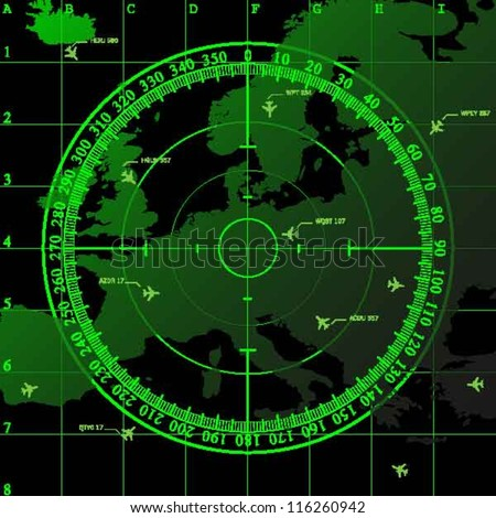 Green radar screen over square grid lines and map of Europe territory, vector - stock vector