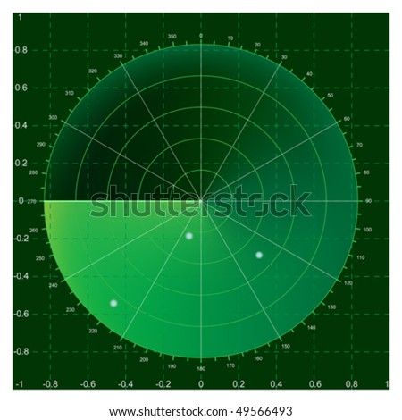 Green radar screen, vector illustration AI8 compatible, mesh gradient used - stock vector