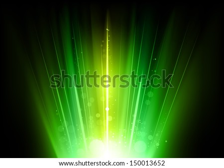 green rays in the dark space - stock vector