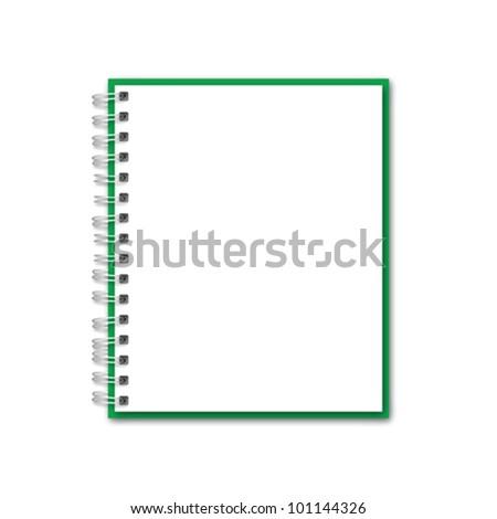 Green Realistic Notebook Vector - stock vector