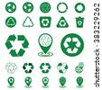 green recycle ecology icons set on white background