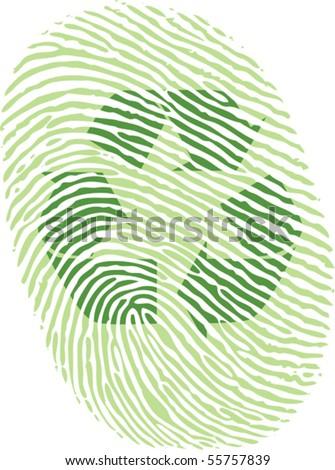 green recycle fingerprint vector drawing in eps10 - stock vector