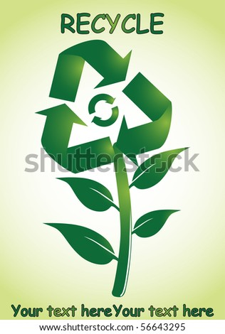 Green recycle flower - stock vector