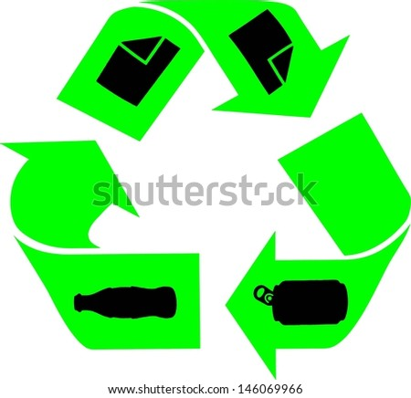 Green recycle icon with tin can, paper and glass bottle symbol.  - stock vector