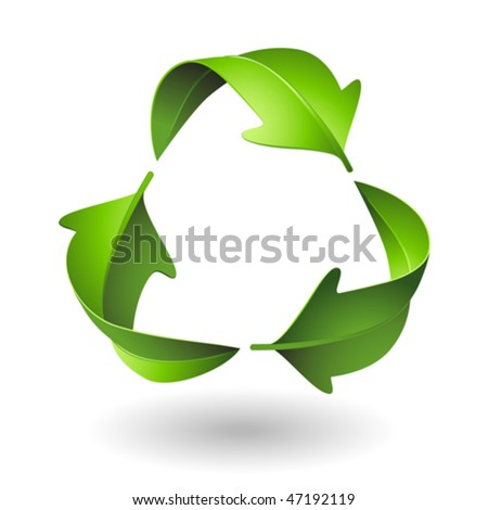 Green Recycle Leaves - stock vector