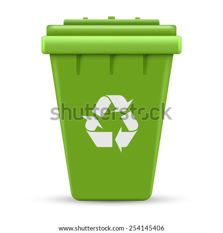 Green recycle outdoor container vector illustration isolated on white background.