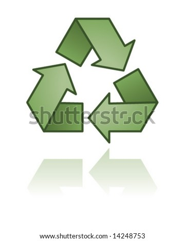 Green recycle symbol icon with reflection.  Vector illustration.