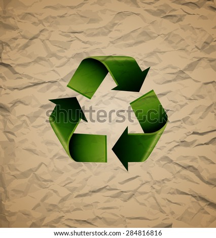 Green recycle symbol on crumpled cardboard, excellent vector illustration, EPS 10