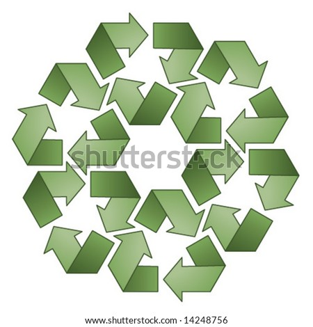 Green recycle symbol pattern.  Vector illustration.