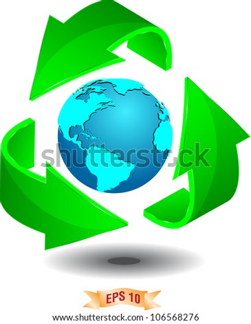 Green recycle world float on white background - stock vector