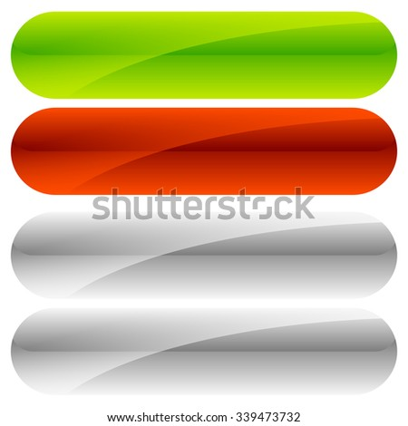 Green, red button backgrounds. Gray versions included. - stock vector