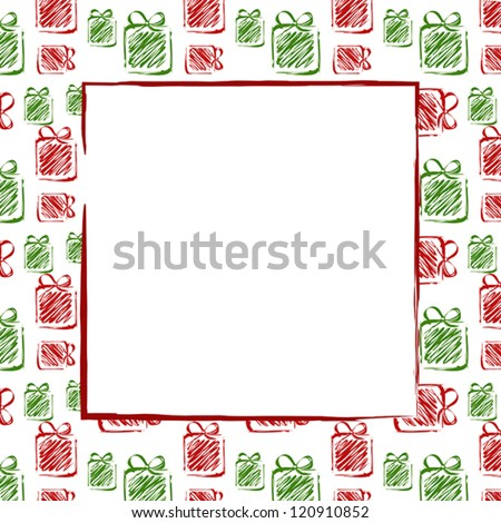 green red drawing gifts frame. christmas card. - stock vector