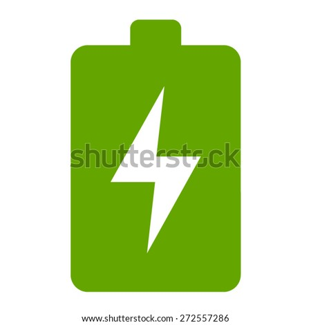 Green renewable energy battery flat icon for apps - stock vector