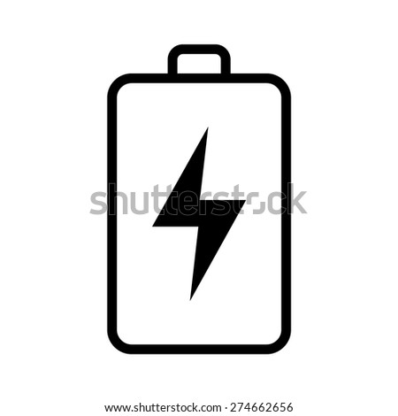 Green renewable energy battery line art icon for apps - stock vector