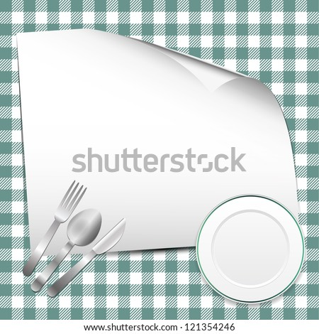 Green restaurant background with place for text - stock vector