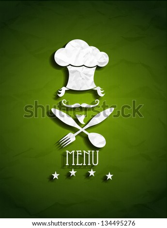 Green Restaurant Menu with chef symbol eps10 - stock vector