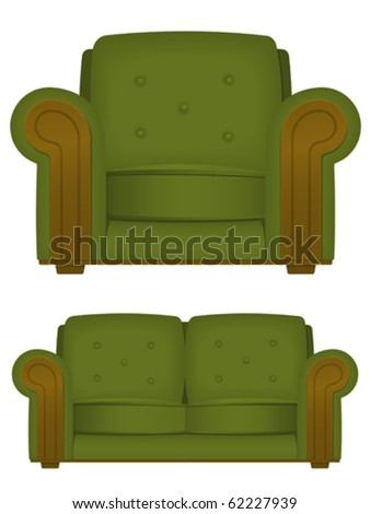 Green retro armchair and couch - vector - stock vector