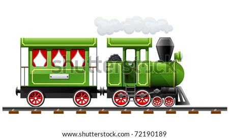 green retro locomotive with coach vector illustration isolated on white background - stock vector