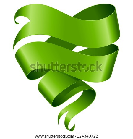 Green ribbon banner in the shape of heart isolated on white background - stock vector
