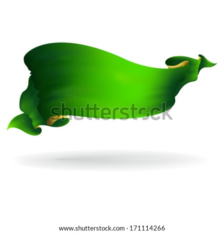 green ribbon banner, vector drawing