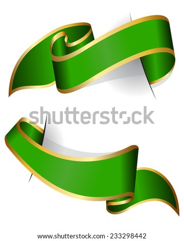 Green ribbon collection isolated on white background - stock vector