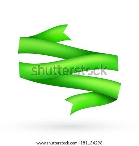 Green Ribbon, isolated on white background. Vector Illustration - stock vector