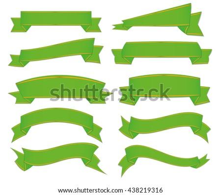 green ribbons set - stock vector