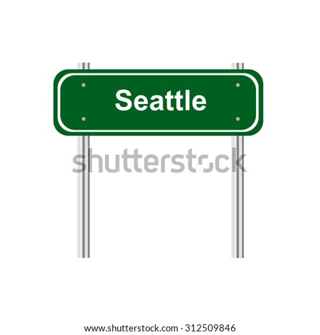 Green road sign Seattle