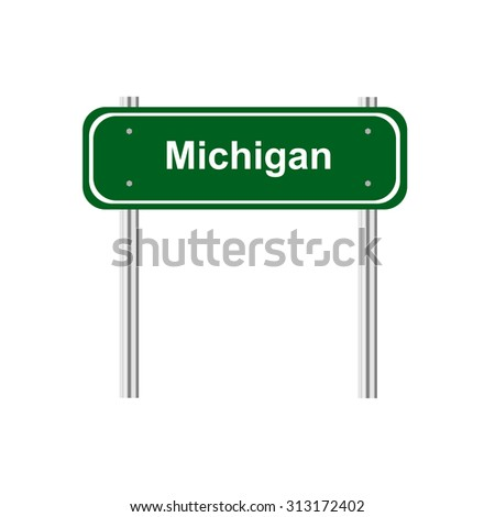Green road sign US state of Michigan - stock vector