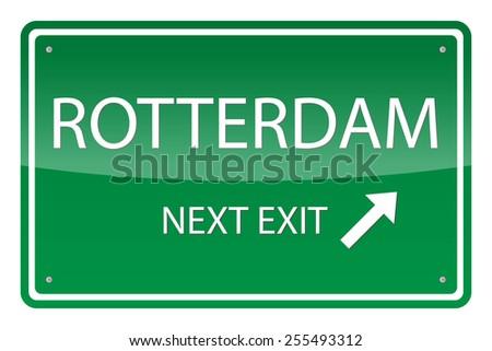 Green road sign, vector - Rotterdam - stock vector