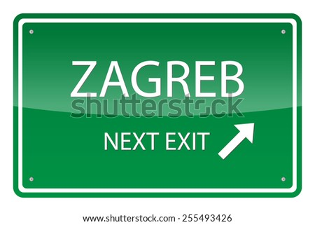 Green road sign, vector - Zagreb