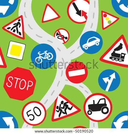 Green Road Signs Seamless Pattern - stock vector