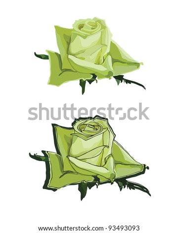 green roses on a white background. vector - stock vector