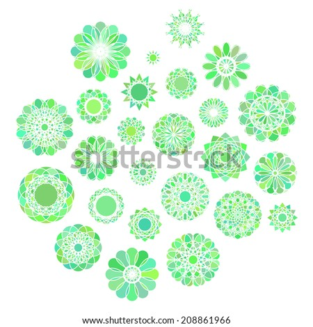 Green round east ornament set. Vector symbols - stock vector