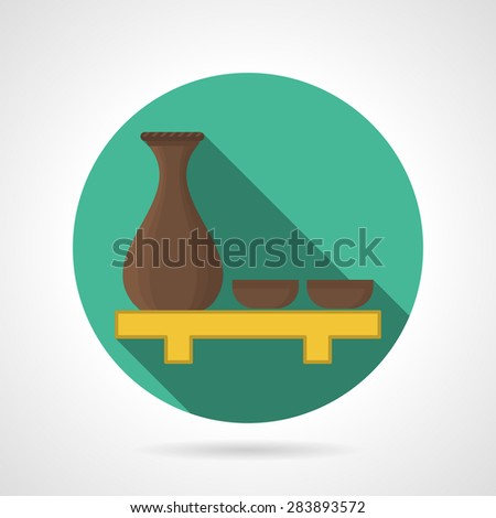 Green round flat color style vector icon for sake jug with two cups on wooden tray on gray background. Long shadow design - stock vector