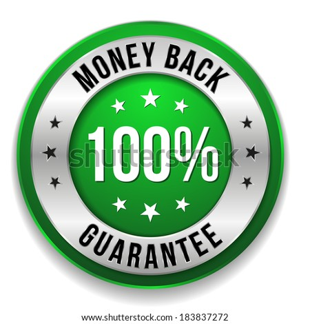 Green round hundred percent money back button on white background - stock vector
