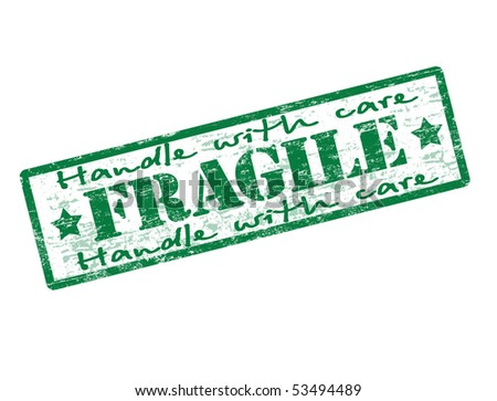 Green rubber grunge office stamp with the word fragile  - more available - stock vector
