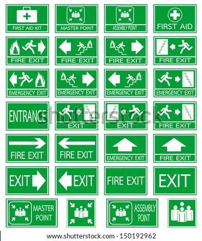 Green safety sign. Vector emergency exit signs set on green background - stock vector