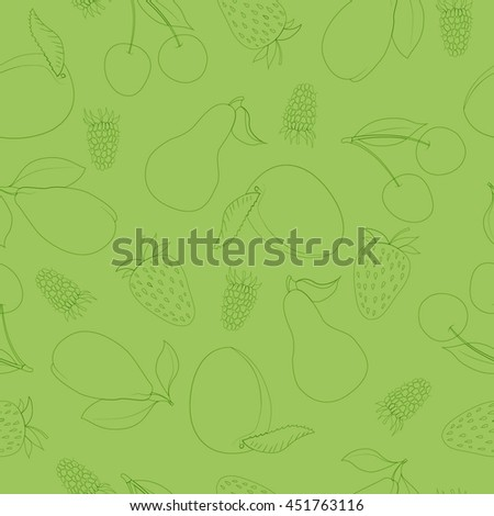 Green seamless fruit pattern. Outline fruits vector background. Linear style fruits background for juice, organic and vegan food. Vector illustration.