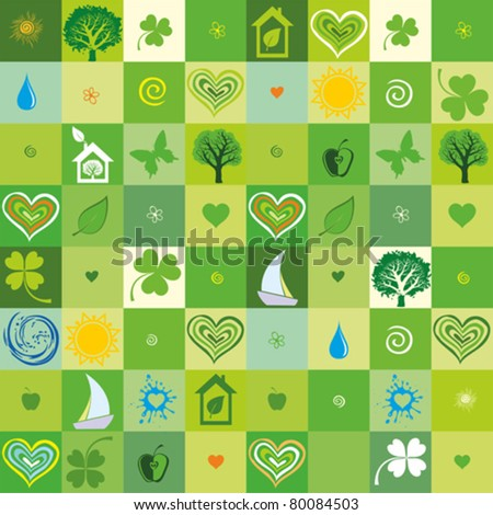green seamless pattern. Vector illustration - stock vector