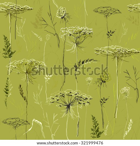 Green seamless pattern with herbs, flowers and plants. Hand draw vector meadow floral background. Seamless herbal sage pattern. Packing or wrapping paper, bedding fabric, textile design texture. - stock vector