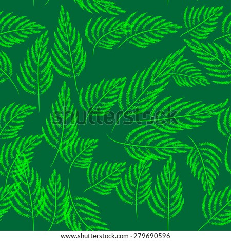 green seamless pattern with leaves - stock vector