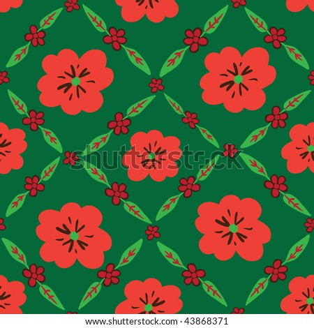 Green seamless pattern with red flowers