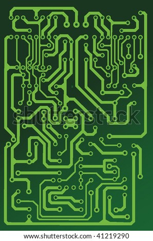 green seamless printed circuit board pattern