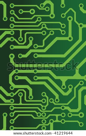green seamless printed circuit board pattern - stock vector