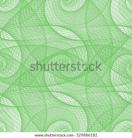 Green seamless wired swirl fractal pattern background - stock vector
