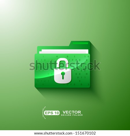 green secure privacy folder - stock vector