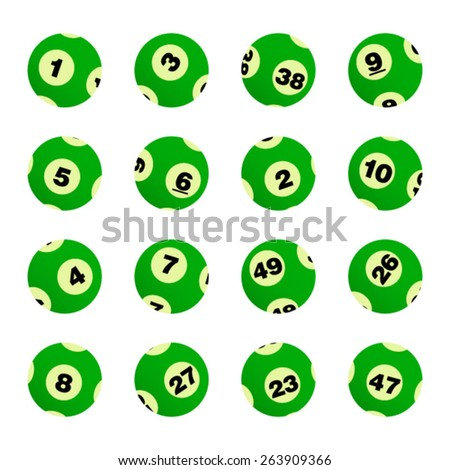 Green Set of  Bingo / Lottery Balls Isolated Over White Background - stock vector