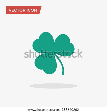 Green Shamrock leave icon in trendy flat style isolated on grey background. Happy patricks symbol for your web design, logo, app, UI. Vector illustration, EPS10. - stock vector