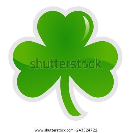 Green shamrock, three leaf clover, vector illustration - stock vector